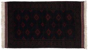 3×6 Vintage Afghan Oriental Blue Hand-Knotted Rug