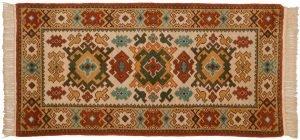 3×6 Vintage Kazak Oriental Beige Hand-Knotted Rug