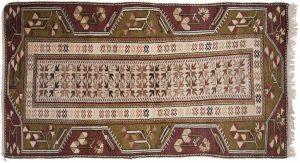 3×6 Vintage Melas Oriental Ivory Hand-Knotted Rug