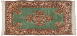 3×6 Persian Kerman Oriental Green Hand-Knotted Rug