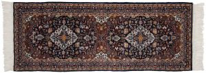 3×7 Kashan Oriental Blue Hand-Knotted Rug Runner