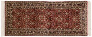 3×7 Vintage Yezd Oriental Red Hand-Knotted Rug Runner