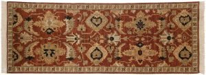 3×8 Sultanabad Oriental Rust Hand-Knotted Rug Runner