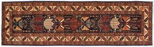 3×9 Caucasian Oriental Blue Hand-Knotted Rug Runner