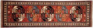 3×9 Ersari Oriental Rust Hand-Knotted Rug Runner