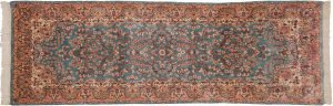 3×9 Semi-Antique Persian Kerman Oriental Blue Hand-Knotted Rug Runner