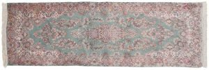 3×9 Semi-Antique Persian Kerman Oriental Green Hand-Knotted Rug Runner