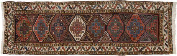 4x13 kazak multi color oriental rug runner 011349