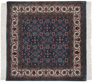 4×4 Bijar Oriental Blue Hand-Knotted Square Rug