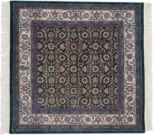 4×4 Bijar Oriental Green Hand-Knotted Square Rug