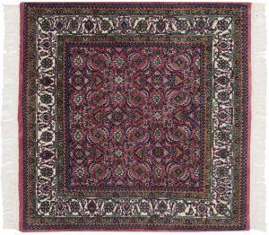 4×4 Vintage Bijar Oriental Rose Hand-Knotted Square Rug