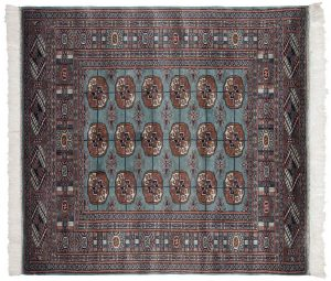 4×4 Vintage Bokhara Oriental Blue Hand-Knotted Square Rug