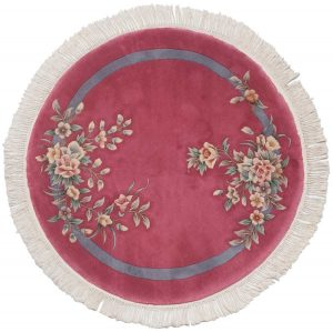 4×4 Vintage Floral Oriental Rose Hand-Knotted Round Rug