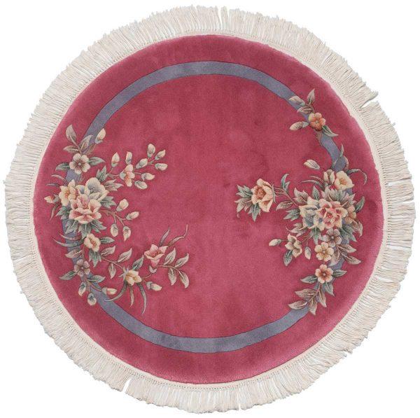 4x4 chinese rose oriental round rug 029086