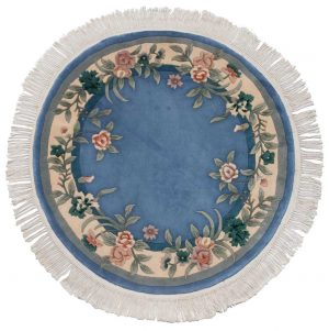 4×4 Vintage Floral Oriental Blue Hand-Knotted Round Rug
