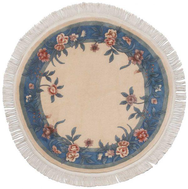 4x4 floral ivory oriental round rug 028696
