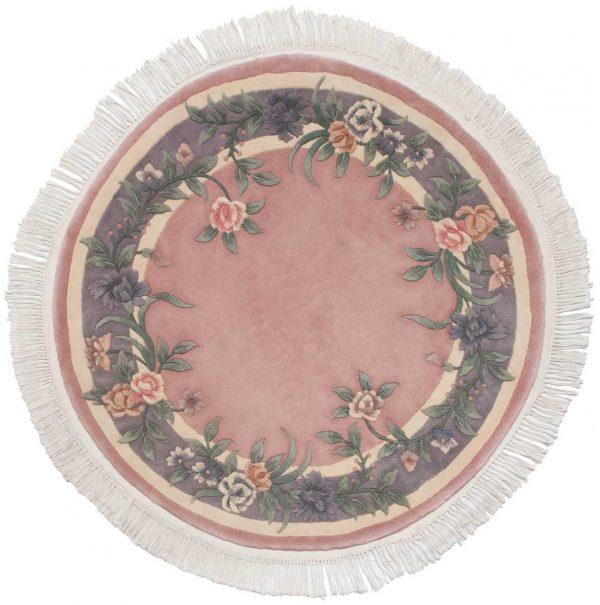 4x4 floral rose oriental round rug 028700