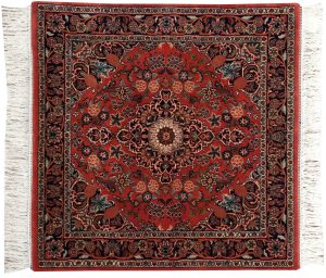 4×4 Kashan Oriental Red Hand-Knotted Square Rug