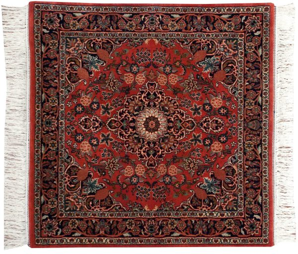 4x4 kashan red oriental square rug 031924