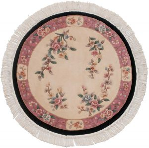 4×4 Vintage Peking Oriental Ivory Hand-Knotted Round Rug