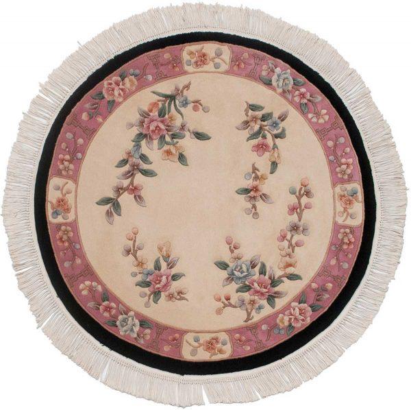 4x4 peking ivory oriental round rug 029088