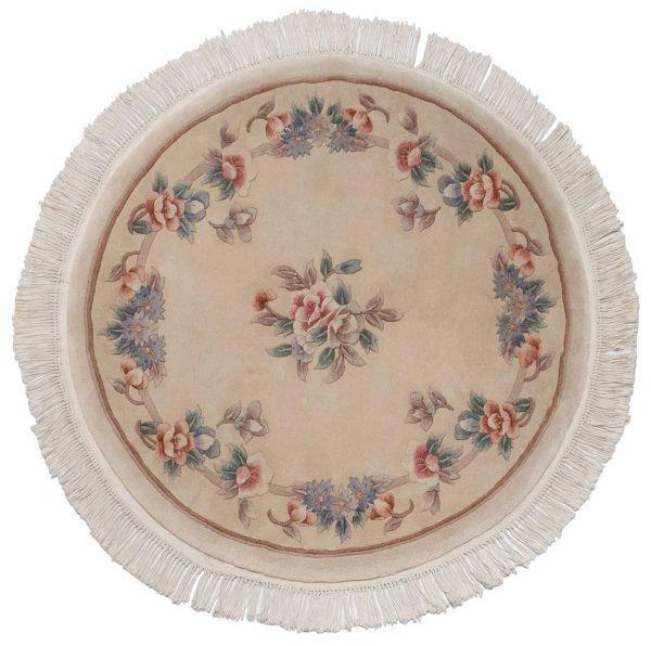 4x4 peking ivory oriental round rug 029091