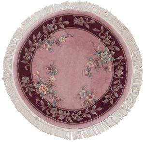 4×4 Vintage Peking Oriental Rose Hand-Knotted Round Rug