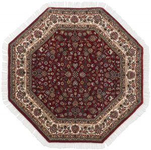 4×4 Kashan Oriental Red Hand-Knotted Octagon Rug