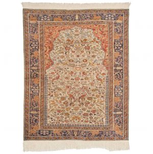 4×5 Caesaria Oriental Ivory Hand-Knotted Rug
