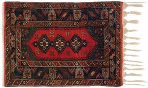4×5 Doesemealte Oriental Red Hand-Knotted Rug