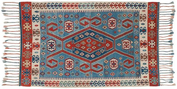 4x5 kilim blue oriental rug 034566