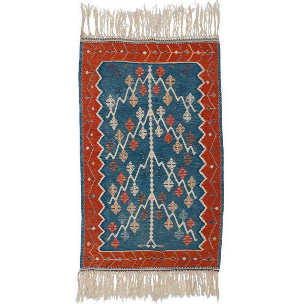 4x5 kilim blue oriental rug 034568