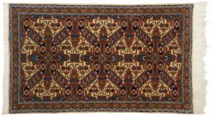 4×5 Persian Ardebil Oriental Ivory Hand-Knotted Rug