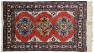 4×5 Vintage Persian Ardebil Oriental Rose Hand-Knotted Rug