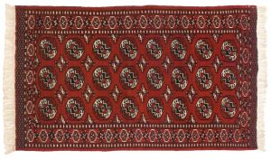 4×5 Semi-Antique Persian Yomud Oriental Red Hand-Knotted Rug