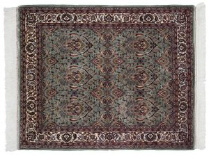 4×5 Vintage Yezd Oriental Green Hand-Knotted Rug
