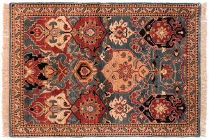 4×6 Agra Oriental Blue Hand-Knotted Rug
