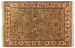 4×6 Agra Oriental Green Hand-Knotted Rug