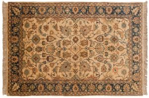 4×6 Agra Oriental Ivory Hand-Knotted Rug