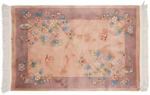 4×6 Vintage Art Deco Oriental Peach Hand-Knotted Rug