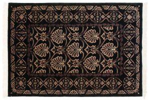 4×6 Vintage Arts & Crafts Oriental Black Hand-Knotted Rug