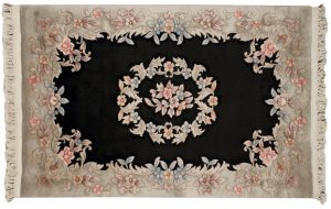 4×6 Vintage Aubusson Oriental Black Hand-Knotted Rug