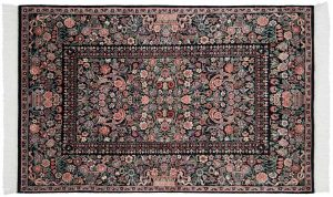 4×6 Aubusson Oriental Black Hand-Knotted Rug