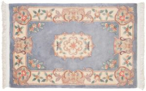 4×6 Vintage Aubusson Oriental Blue Hand-Knotted Rug
