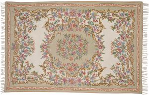 4×6 Aubusson Oriental Ivory Hand-Knotted Rug