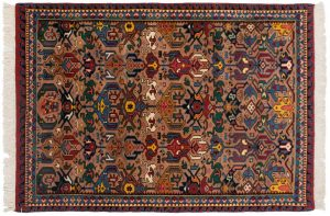 4×6 Caucasian Oriental Beige Hand-Knotted Rug
