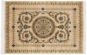 4×6 Vintage Aubusson Oriental Beige Hand-Knotted Rug