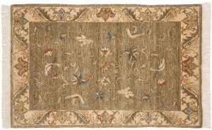 4×6 Bird Oriental Green Hand-Knotted Rug