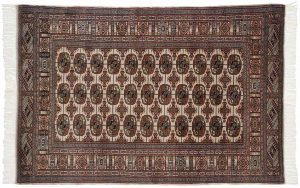 4×6 Vintage Bokhara Oriental Beige Hand-Knotted Rug