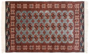 4×6 Vintage Bokhara Oriental Blue Hand-Knotted Rug